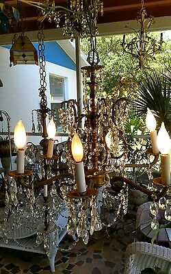 ANTIQUE 6 arm Spanish Ornate Brass Chandelier Lots of Crystals