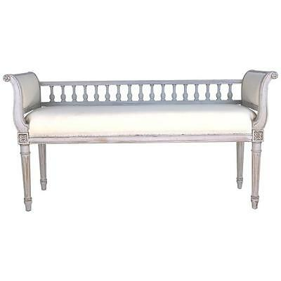 Rare Period Swedish Gustavian Painted Spindle Back Bench, 19th Century