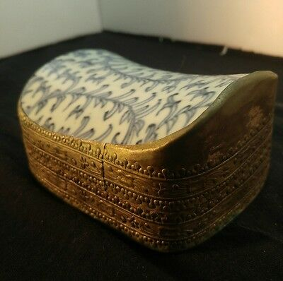 Early 1900's antique asian ceramic chard and metal trinket box