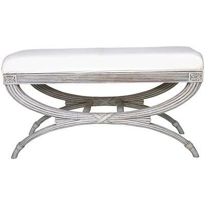 Swedish Gustavian Bench Hand-Carved Details 'X' Ribbon Ribbed, 19th Century
