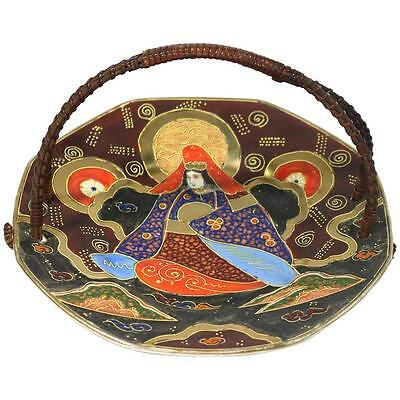 Beautiful Japanese Satsuma Handled Large Serving Plate with Gold Outline Design