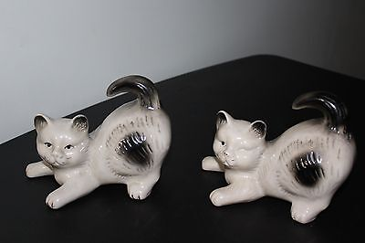 Twin Cat Figurines Black and White
