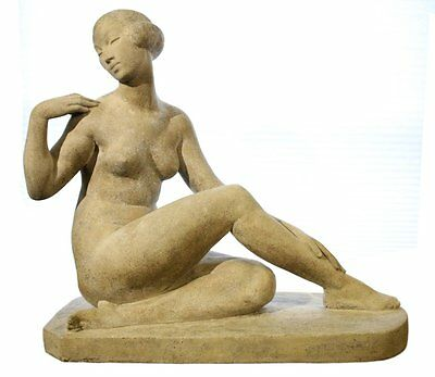 """Art Deco Large Statue after Marcel Bouraine """"Awakening,"""" 1930 with Provenance"""