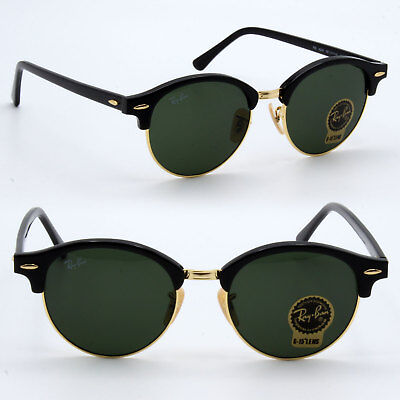 4fd41e7f4a Ray-Ban CLUBROUND Sunglasses Classic Green G-15 51 mm  Black Gold RB4246