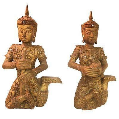 19th century. Teak Carved Large Pair of Gilt Siamese Figures with Provenance