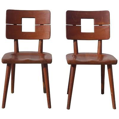 1940s Cool Style Solid Mahogany Pair Heywood Wakefield Split Back Armless Chairs