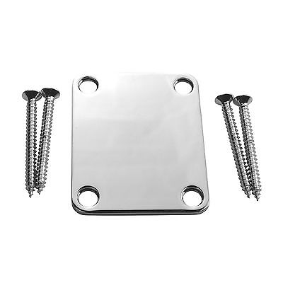 NEW Guitar Neck Plate Fender Strat Tele 4-Bolt With Mounting Screws CHROME (1pc)