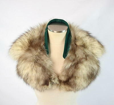 "Vtg 60s Plush White & Brown Soft Luxe Fuzzy Fox Fur Collar Shawl Wrap 8"" x 28"""