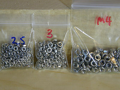 Metric Hex Nuts Stainless Steel M2.5, M3, M4 sizes 2.5mm, 3mm, 4mm