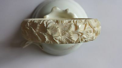 Fine Rare Vintage Chinese Deeply Carved Bracelet Bangle Roses Flowers Wide