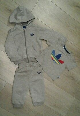 adidas baby 3 piece tracksuit tshirt set age 6/9 months