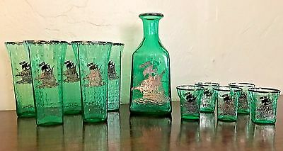 Antique Green Glass Silver Overlay Sailing Ship Nautical Decanter & Glasses 11pc