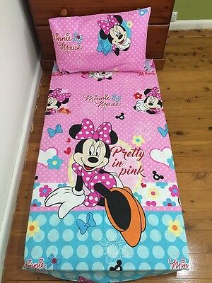 New Pink Pretty Minnie Mouse Baby Cot Fitted Sheet + Pillowcase