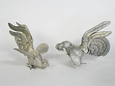 Pair LARGE STERLING SILVER CAMUSSO PERU FIGHTING COCKS ROOSTERS SCULPTURE 524g