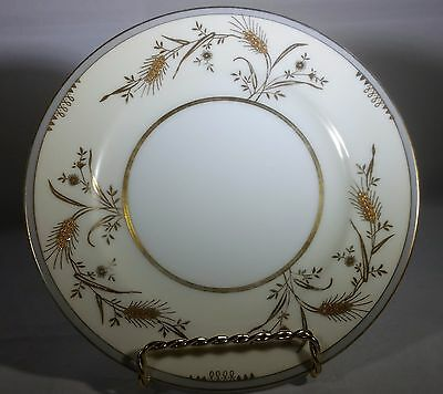 "Meito China 6 1/2"" Bread Plate Hand Painted Gold Wheat Design"