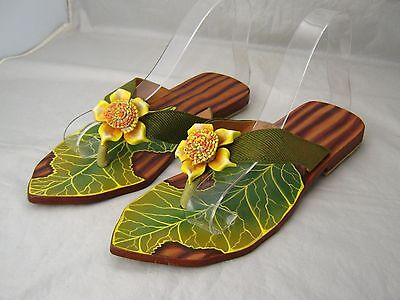 Botanical Leather Thong Sandals Women's US Size 6 M