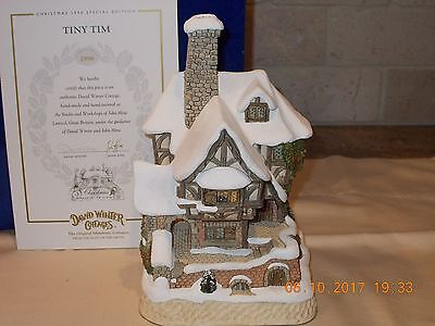 David Winter Cottage Christmas Special 1996 Tiny Tim House with Box & COA