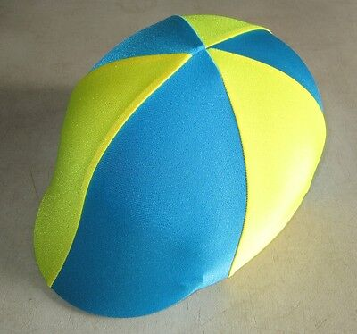Horse Helmet Cover ALL AUSTRALIAN MADE Sky blue/Teal & Yellow Any size you need