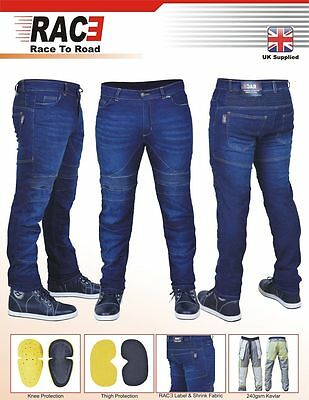 Mens Motorcycle Motorbike SKINNY SLIM JEANS STRETCH DENIM with Protective Lining