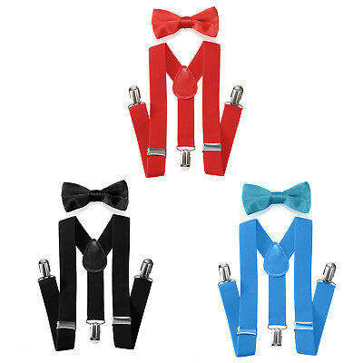Kid Men's clip-on suspenders x back and Bow Tie Retro Steampunk Costume Tux Prom
