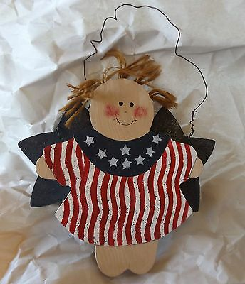 Fourth of July Wood Decoration Country Angel Girl Patriotic Wire Wall Hanging