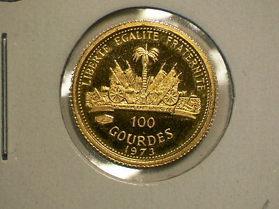 Haiti 1973 100 Gourdes Proof Gold, Christopher Columbus, 90% Gold #7208