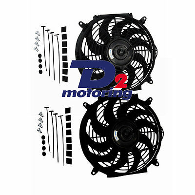 """2Pcs 12"""" 12V Silm Pull/ Push Radiator Thermal Thermo Cooling Fan+Mounting Kit"""