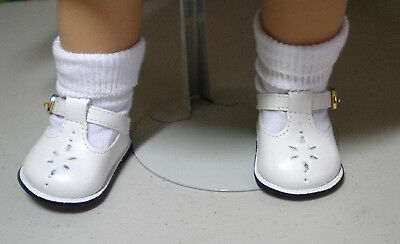 "White T Strap   Shoes   Fit  American Girl  18"" Dolls"