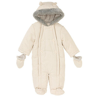 Unisex Baby Wadded Snowsuit, Off White (3-6 months)