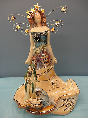 Heather Goldminc Clayworks Nativity Angel t-lite holder