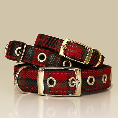 Soft Genuine Leather Dog Puppy Cat Plaid Tartan Collar 4 Layers Padded Handmade