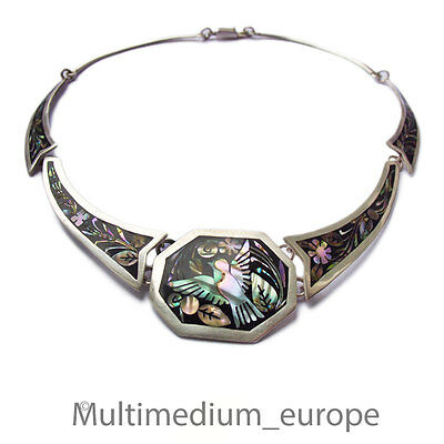 Mexico Silber Collier Emaille Perlmutt Halskette silver necklace Taxco enamel TE