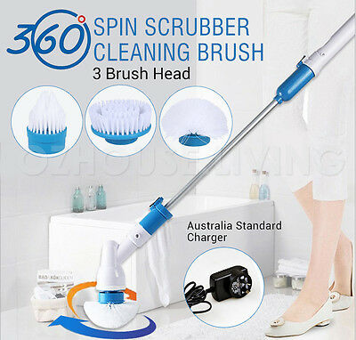 360 Spin Scrub Cleaning Brush Mop Scrubber Bathroom kitchen Tile Floor Homeclean