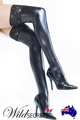 NEW Coquette Wet-Look Stay-Up Thigh Highs with Lace Top