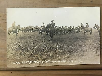 Nice Antique RPPC Real Photo Postcard Military pre WW1 Iowa Falls Soldiers Horse