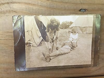 Nice Antique RPPC Real Photo Postcard Military WW1 Iowa Falls Soldiers Barber