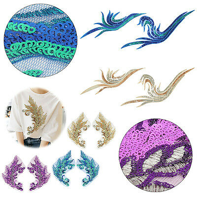 Embroidery Sequin Sew On Patch Badge Bag Clothes Dress Applique Fabric DIY Craft