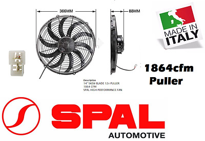 "Spal 14"" Thermo Fan Skew Blade 12v Puller 1864 CFM Low Profile New Made in Italy"