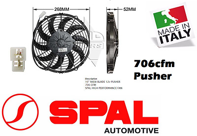 """Spal 10"""" Thermo Fan Skew Blade 12v Pusher 706 CFM Low Profile New Made in Italy"""