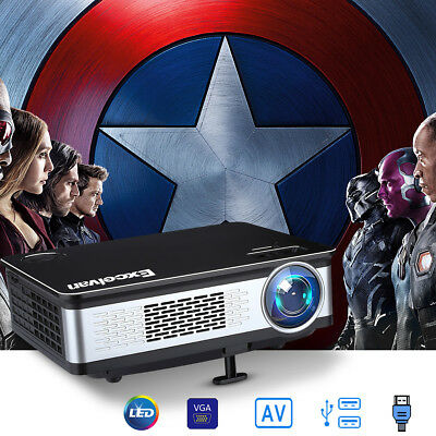 WIFI Android6.0 3300 Lumens LED 1080P Projector Home Cinema Movie Multimedia UK