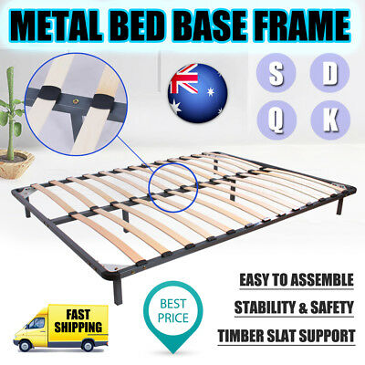 NEW Single Double Queen King Size Metal Bed Base Bed Frame Timber Slat Support