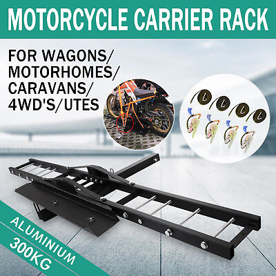 300kg Motorcycle Scooter Dirt Bike Carrier Hauler Hitch Mount Rack Ramp No Tilt