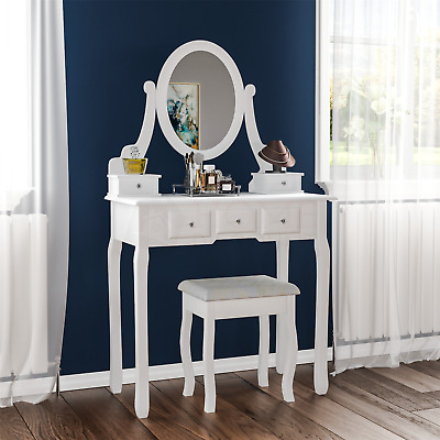 Nishano Dressing Table 5 Drawer Stool Mirror Bedroom Furniture Makeup Desk White