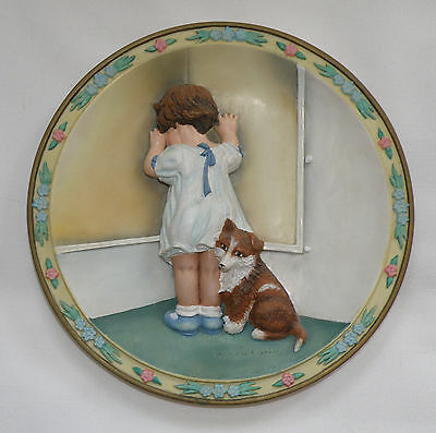 Ltd Ed 3-D Collector Plate By B. P. Gutmann, In Disgrace, Child W/ Collie Puppy