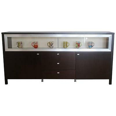 Vintage Glass Front Display Cabinet Buffet Bar with Drop Down Glass Shelf
