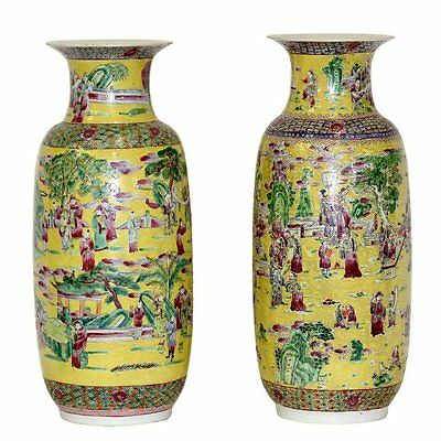 19th Century Fine Large Imperial Style Palatial Yellow Porcelain Vases