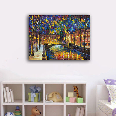 Colorful Night Bridge Stretched Canvas Prints Framed Wall Art Home Decor II
