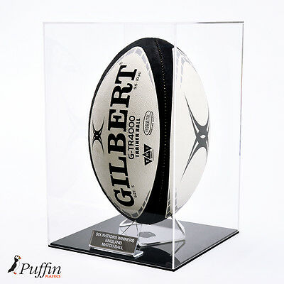 Rugby Ball Display Case Portrait (Deluxe)