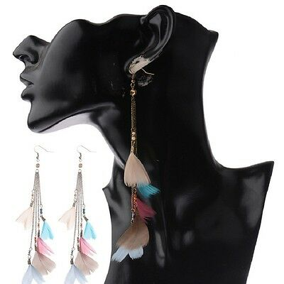 Bohemian Fashion Women Jewelry Long Chain Colorful Feather Earrings Hook Dangle