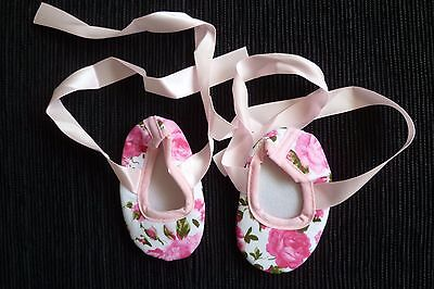 Baby clothes GIRL 3-6m canvass white/pink floral soft shoes ribbons SEE SHOP
